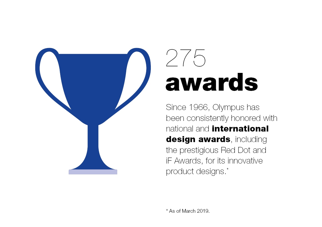 275 awards. Since 1966, Olympus has been consistently honored with national and international design awards, including the prestigious Red Dot and iF Awards, for its innovative product designs (as of August 2018.)