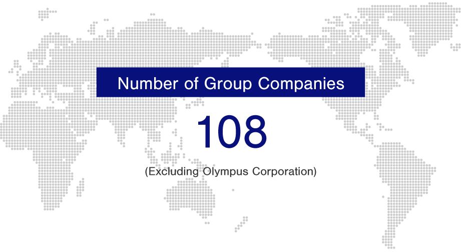 Number of Group Companies: 108 (Excluding Olympus Corporation and including nonconsolidated subsidiaries and equity-method affiliates.)