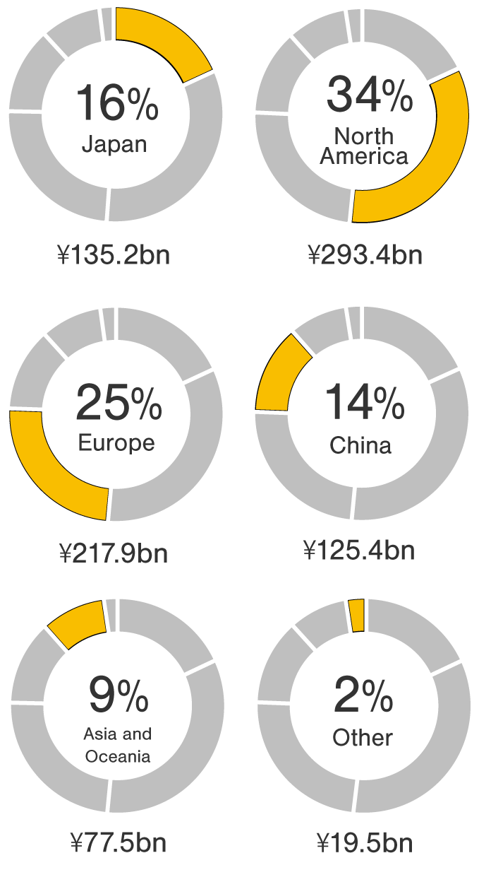 Fiscal year ended March 2020: Consolidated revenue 797.4 billion Yen. Japan 144.4 billion Yen 18%, North America 266.7 billion Yen 33%, Europe 191.3 billion Yen 24%, China 103 billion Yen 13%, Asia and Oceania 728 billion Yen 9%, Other Region 19.2 billion Yen 2%.