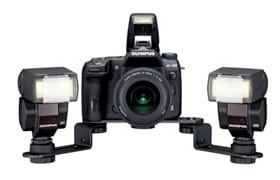 Twin Flash Bracket FL-BKM03 with E-30 and 2 of Electronic Flash FL-36R