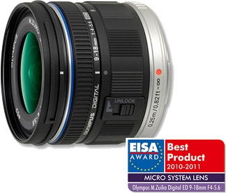 "The ""European Micro System Lens 2010-2011"" Award ""M.ZUIKO DIGITAL ED 9-18mm F4.0-5.6"""