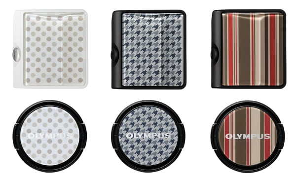 Top: MCG-3PR Camera Grip (Left: Dot pattern/ Center: Houndstooth Check pattern/ Right: Stripe pattern) Bottom: LC-37PR Premium Lens Cap (Left: Dot pattern/ Center: Houndstooth Check pattern/ Right: Stripe pattern)