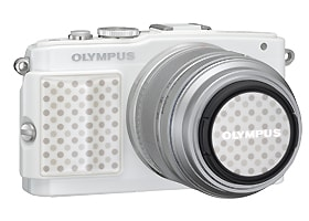Image of MCG-3PR Camera Grip and LC-37PR Premium Lens Cap on OLYMPUS PEN Lite E-PL5