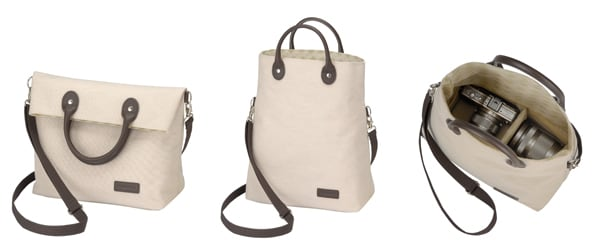 CBG-8 Camera Bag (Left: Shoulder-hanging use / Center: Hand-carrying use / Right: Image of the bag containing a camera and lenses